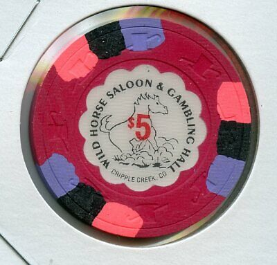 $5 Wild Horse Saloon 1st issue Cripple Creek COLORADO Casino Chip RARE AU++
