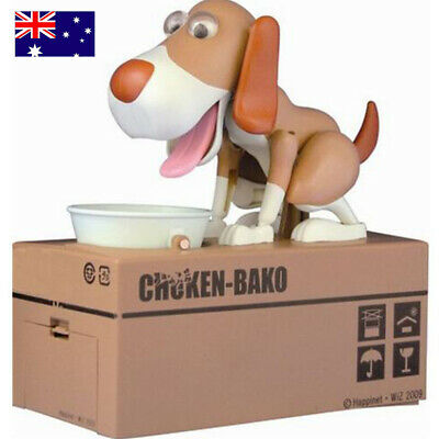Cute Dog Piggy Bank Hungry Eating Doggy Coin Money Saving Box Kids Xmas Gift AU