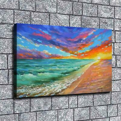 """12""""x20""""Oil painting sunset HD Canvas print Painting Home Decor Picture Wall art"""