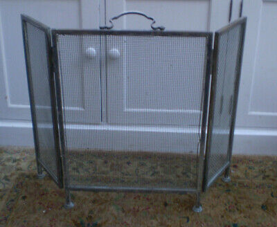 Vintage brass fire guard 3 fold fire screen with patina