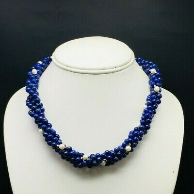 DYED LAPIS LAZULI CHINESE PEARL Smooth Round Beads Designer Twisted Necklace