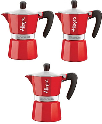 Aeternum Allegra Coffee Maker Aluminium Red, 6 Cup UK POST FREE