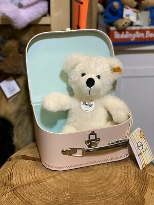 Steiff Lotte Teddy bear In pink Suitcase 28cm Brand New With FREE GIFT BAG