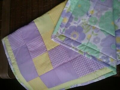 Yellow and Purple Gingham Patchwork Baby Quilt/Blanket