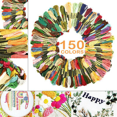 150 Colors 8M Embroidery Thread Stitch Floss/Skeins Polyester Cotton Kit BEA