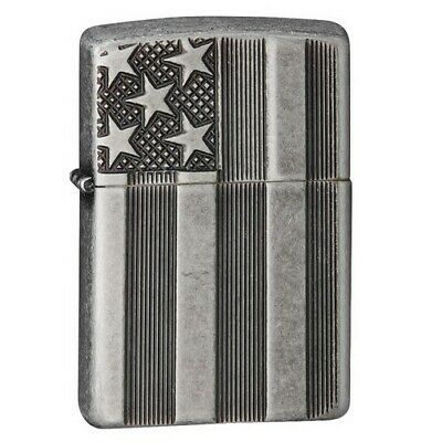 Zippo 28974 US Flag Silver Plate Deep Carve Windproof Lighter