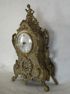 Franz Hermle Style Brass   Quartz Mantle Clock. Spares Or Repair