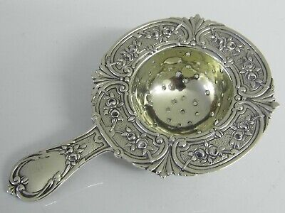 A SUPERB ANTIQUE ENGLISH SOLID STERLING SILVER TEACUP STRAINER 1924 40g