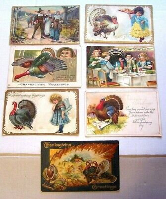 Vintage Postcard Lot 7 Thanksgiving Postcards,All Early 1900's  All Sleeved,TH 5