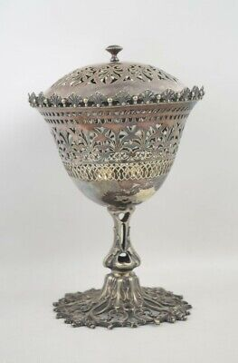 Beautiful Antique Victorian Silverplate Potpourri Chalice Pomander 9.5""