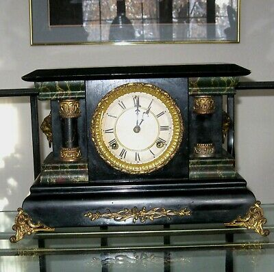 Antique 8 Day Chime and Strike Mantle Clock Works Great Needs 1 Column
