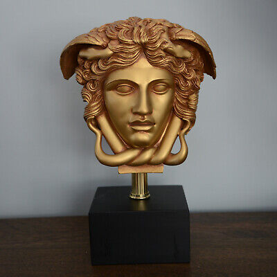 Medusa Bust Head Greek Roman Versace Sculpture Replica Reproduction Antique Gold