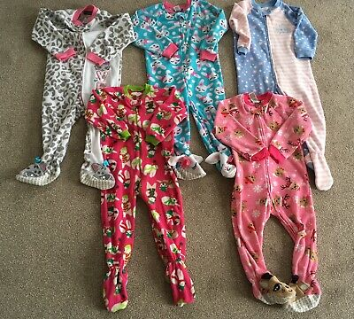 5 Joe Boxer & Place 2 - 4 Years Zip Up Fleece Footed Sleepsuits