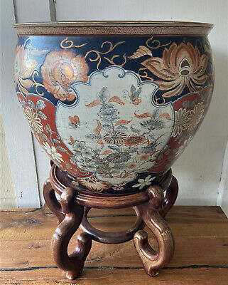 Large Vintage Signed Chinese Porcelain Imari Koi Jardiniere Planter Bowl Pot