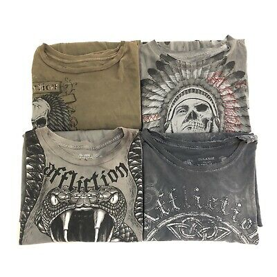 Affliction Mens Lot of 4 Graphic Distressed Short Sleeve T Shirts Size XXL