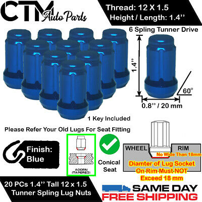 20PC SPLINE LUG NUT KIT M12X1.5 2 KEYS FITS 5 LUG CHEVY CAMARO CORVETTE CRUZE