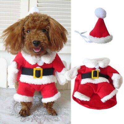 Christmas Pet Small puppy Dog Cat Santa Claus Costume Outfit Jumpsuit Cosplay US
