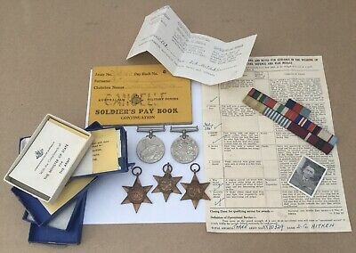 WW2 Australian Military Medals Ribbons Pay Book Soldier PHOTO Star Africa Italy