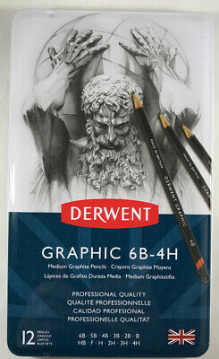 Derwent Graphic 6B-4H 12 Medium Graphite - Brand New & Sealed - Free Shipping