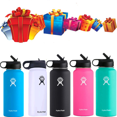 Hydro Flask 32oz Stainless Steel Water Bottle Insulated Wide Mouth Straw Lid