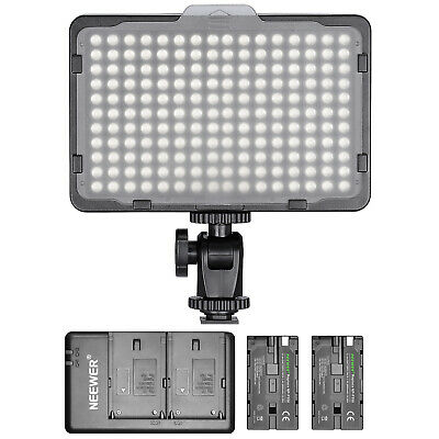 Neewer Dimmable 176 LED Video Light with 2-Pack Battery and Dual USB Charger