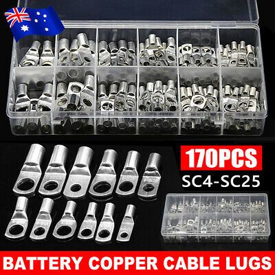 170Pcs 4WD Cable Lug Ring Battery  Copper Tube Connector Kits Terminal Crimper