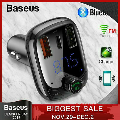 Baseus Handsfree Wireless Bluetooth Car Kit FM Transmitter MP3 Player USB New
