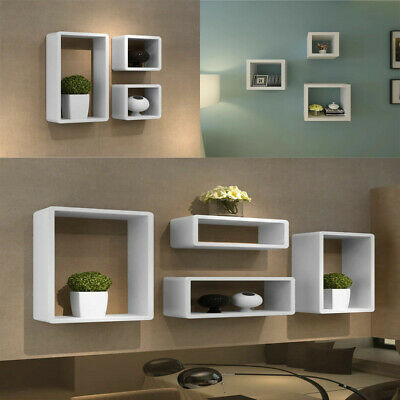 Floating Shelves Stand Rack High Gloss Wall Cube Cuboid Storage Display Unit New