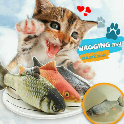 Cat Playing Fish Realistic Plush Toy Simulation Soft Gift for Pet Play Pillow