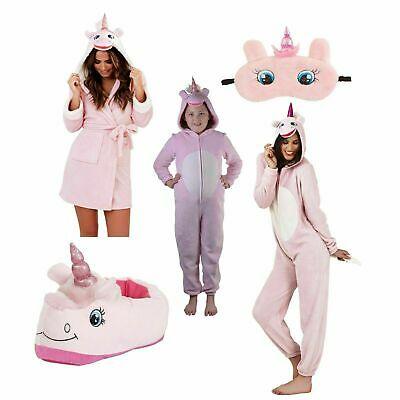 Ladies Kids Girls Pink Unicorn All In one Jumpsuit, Slippers, Pyjamas or Robe
