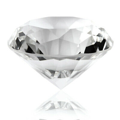 Crystal Clear Paperweight Cut Glass Giant Diamond Jewel Decor Gift 60mm