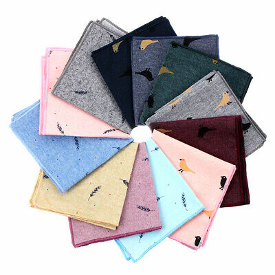 Party Cotton Handkerchief Birds Feather Pattern Pocket Square Business Casual
