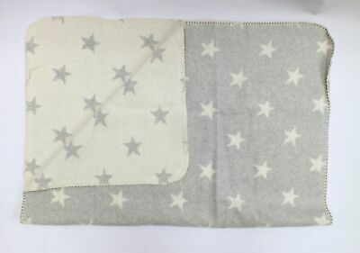 XMAS SPECIAL DC Throw Blanket GREY CREAM STARS DESIGN 100 x 75 cm  - Y99