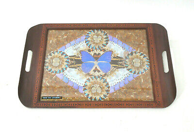 Vtg Iridescent Butterfly Wing Specimen inlaid Wood Serving Tray Rio De Janeiro