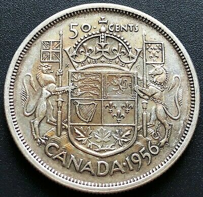 1956 Canada Silver 50 Cent Half Dollar - Great Condition - Good Date