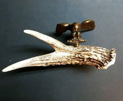 Vintage Brass Eagle Finial Mounted White Tail Deer Antler Desk Paperweight