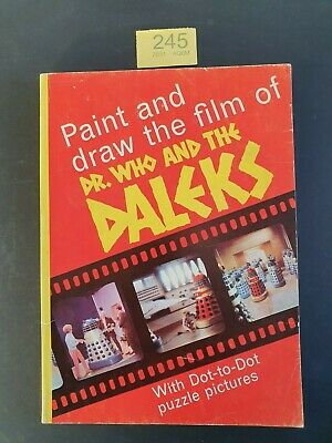 1965 Dr WHO AND THE DALEKS PAINT PLUS DRAW BOOK PETER CUSHION/ROY CASTLE SC