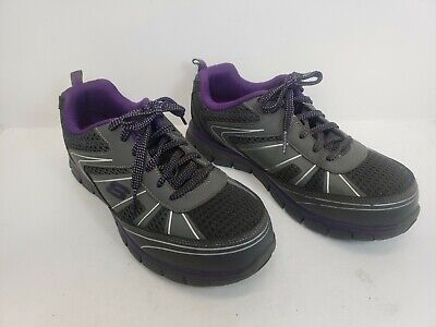 Skechers Purple Black Shoe 77207 Women Work Memory Foam Slip Resistant Alloy Toe
