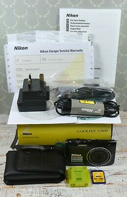 NIKON Black Coolpix S3100 14MP Wide 5x Zoom VR Digital Compact Camera Boxed