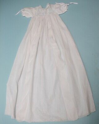 Antique Baby / Doll Christening Gown White cotton with Swiss Embroidery