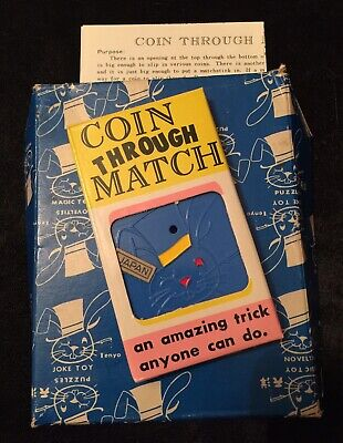 Vintage Magic Trick - Tenyo Coin Through Match - Full Instructions Included