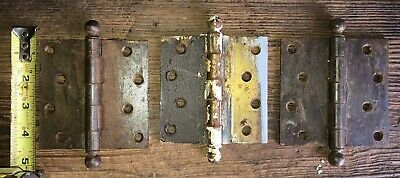 "3 Antique Removable Pin Cannon Ball Top Door Hinge  4 "" X 4"""