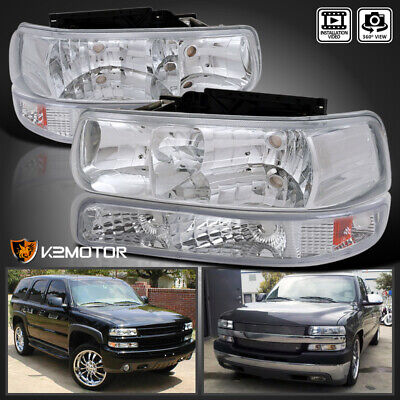 For 1999-2002 Chevy Silverado Crystal Clear Lens Headlights+Parking Bumper Lamps