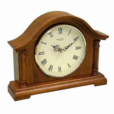 Broken Arch Walnut Mantel Clock with Roman Numerals