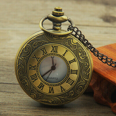 Vintage Hollow Round Dial Double Display Quartz Pocket Watch with Chain Gifts