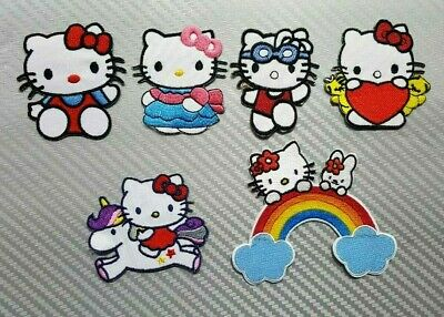 Hello Kitty Round My Melody Kids Cartoon Iron On Embroidered Applique Patch