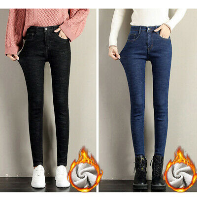 Women Casual Winter Thick Thermal Fleece Jeans High Waist Trousers Slim Pants