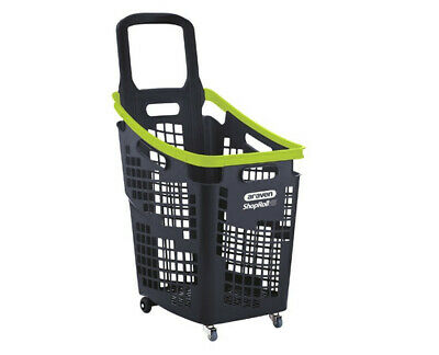 Araven 4 Wheel Plastic Shopping Trolley Basket 65L, Green & Grey