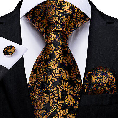 UK Black Gold Silk Floral Tie Set Mens Necktie Pocket Square Cufflinks Wedding