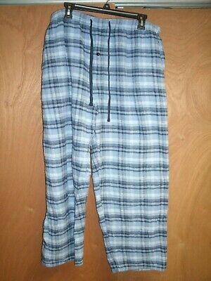 Mens Falls Creek XLarge Pajamas Pants Blue Plaid Flannel Pockets Elastic Waist